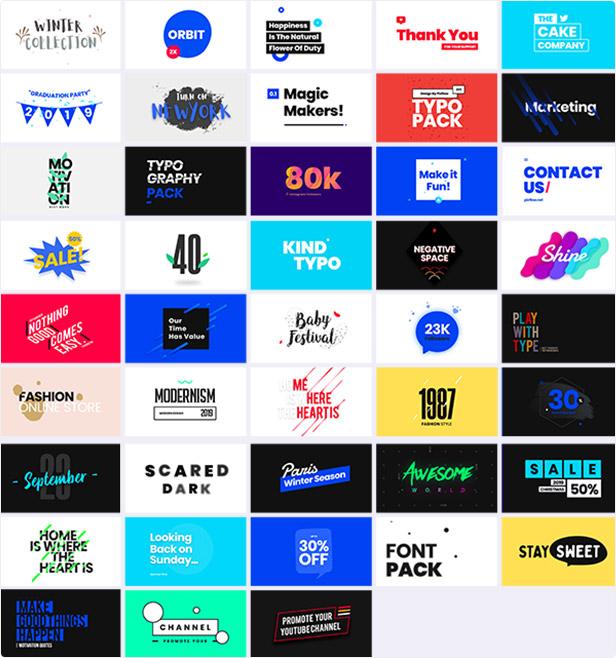 3000组一键安装文字标题排版背景转场图形动画海报广告工具包AE+PR脚本预设