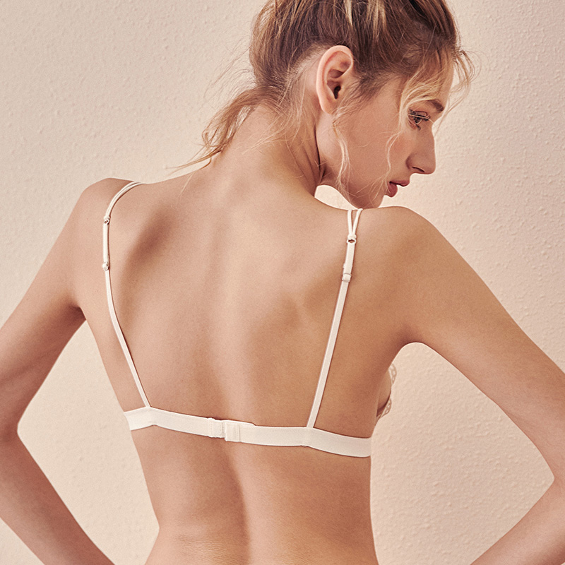 426e55ec6a6 French underwear small breast triangle cup no steel ring girl lace ultra ...