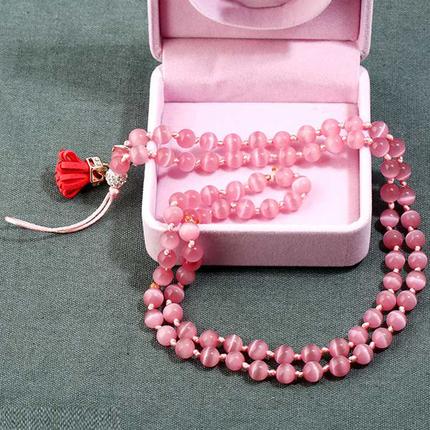 手机挂绳女手工编织猫眼石长手机挂链胸牌工作吊牌挂脖水晶长挂绳