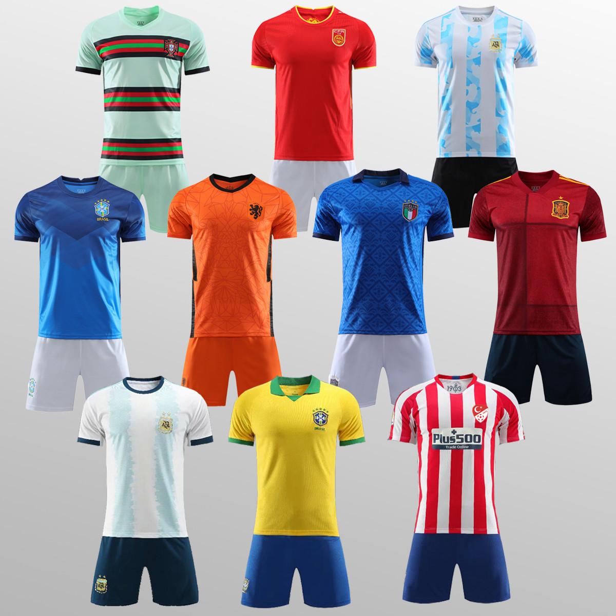 足球服套装2021欧洲杯球衣法国意大利葡萄牙比利时定制训练服男女