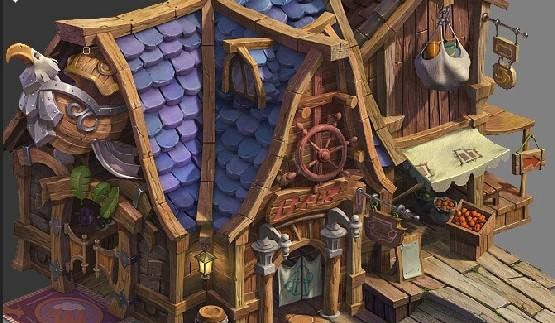 卡通游戏Q版建筑 2.5D高模场景 max物件3D模型psd地图 3渲染2素材