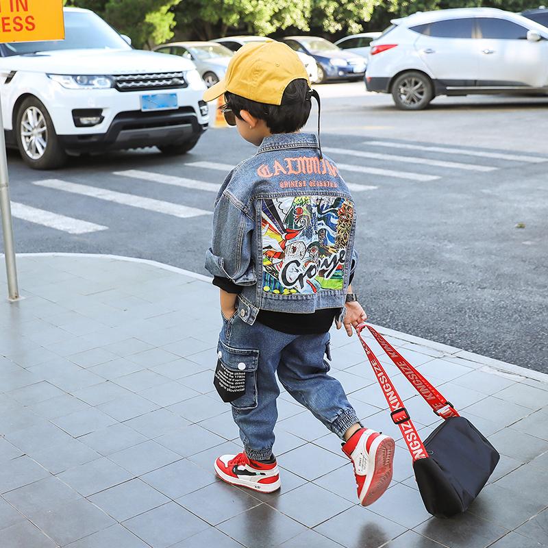 男童衣服外套秋装2021新款宝宝洋气潮小孩小童韩版牛仔春秋款儿童