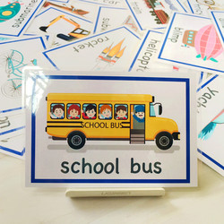 English cards, plastic words, flash cards, transportation tools, 28 kindergarten children's enlightenment and durable English teaching aids