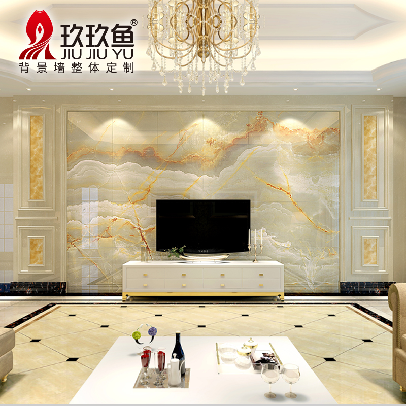tile marble wall European minimalist living room TV wall tile 3d ...