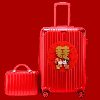 Marriage dowry box red box trolley suitcase caster female bride wedding dowry box luggage suitcase