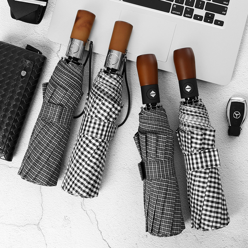 Plaid umbrella plaid folding umbrella female English wind black and white plaid ten bone automatic one-button open and close switch double