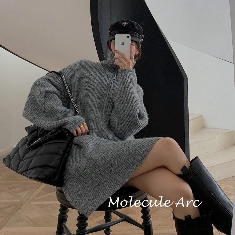 Corle韓國女裝Molecule Arc 官方授權 拉鍊套頭毛衣女寬松外穿慵懶正韓針織上衣