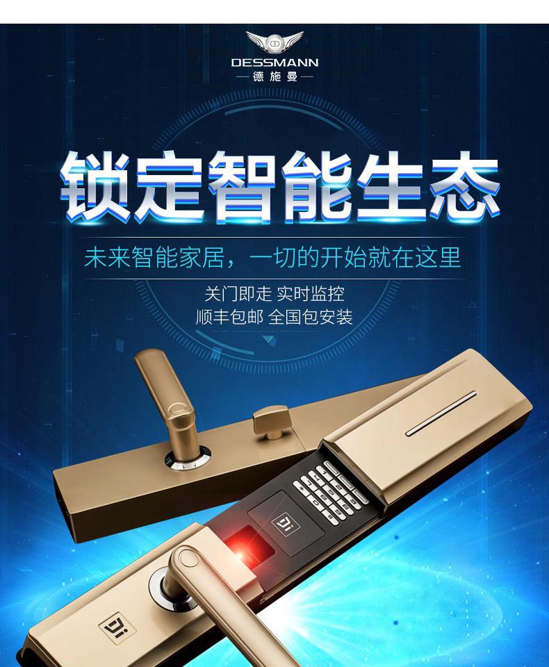 DESSMANN 德施曼 T750 小嘀云智能家用指纹密码锁 电子门锁 天猫优惠券折后¥999包邮(¥1999-1000)2色可选 全国上门安装