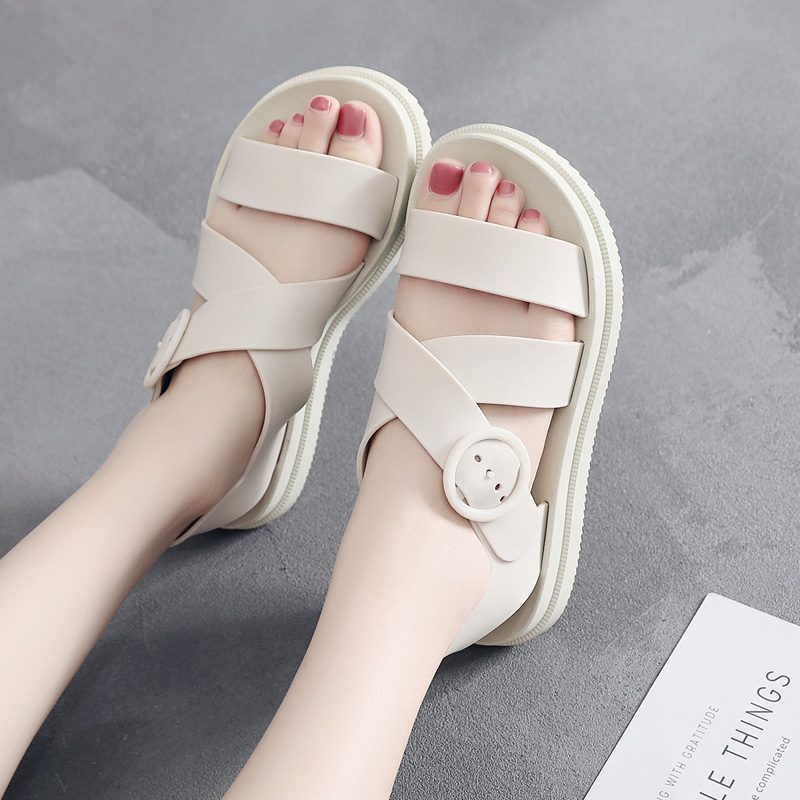 54969613d450b9 Plastic sandals female summer thick bottom non-slip waterproof plastic shoes  flat wild Korean student