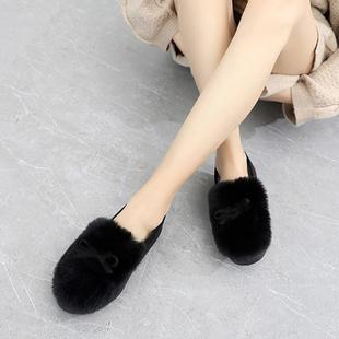 爆款!秋冬兔毛韓版加絨豆豆鞋