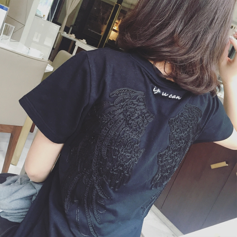 Tide brand 3D embroidery angel wings round neck catch me letter Cotton  loose wild short-sleeved T-shirt female