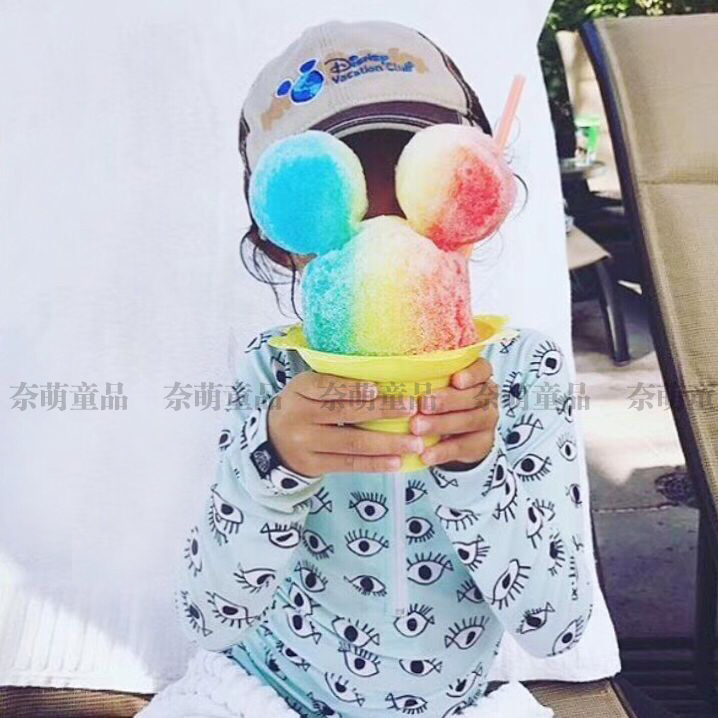 d8da7bf48e Ins explosion models Europe and America eye ice cream one-piece  long-sleeved swimsuit with swimming cap sunscreen baby ...