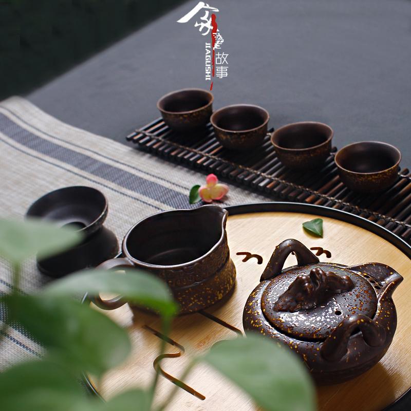 功夫茶具手抓壶茶壶茶杯整套陶瓷家用简约复古茶具套装 老式 怀旧_淘宝优惠券
