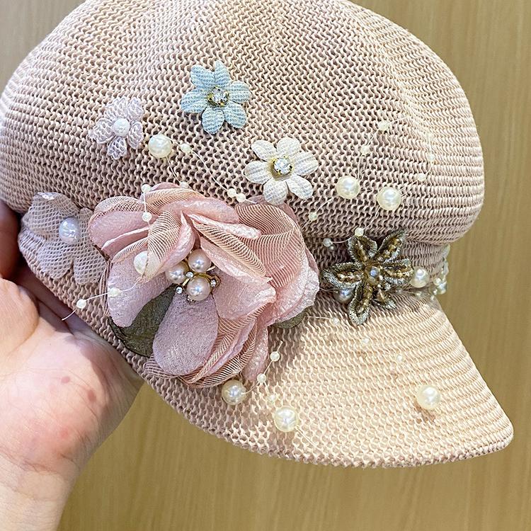 新款夏针织遮脸八角帽透气珍珠花朵韩版贝雷帽鸭舌帽子女百搭详细照片