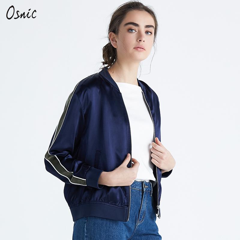 Auchani xuân 2019 phụ nữ mới dệt kim đứng cổ áo dây kéo dài tay áo màu tương phản khâu thời trang áo khoác ngắn - Áo khoác ngắn