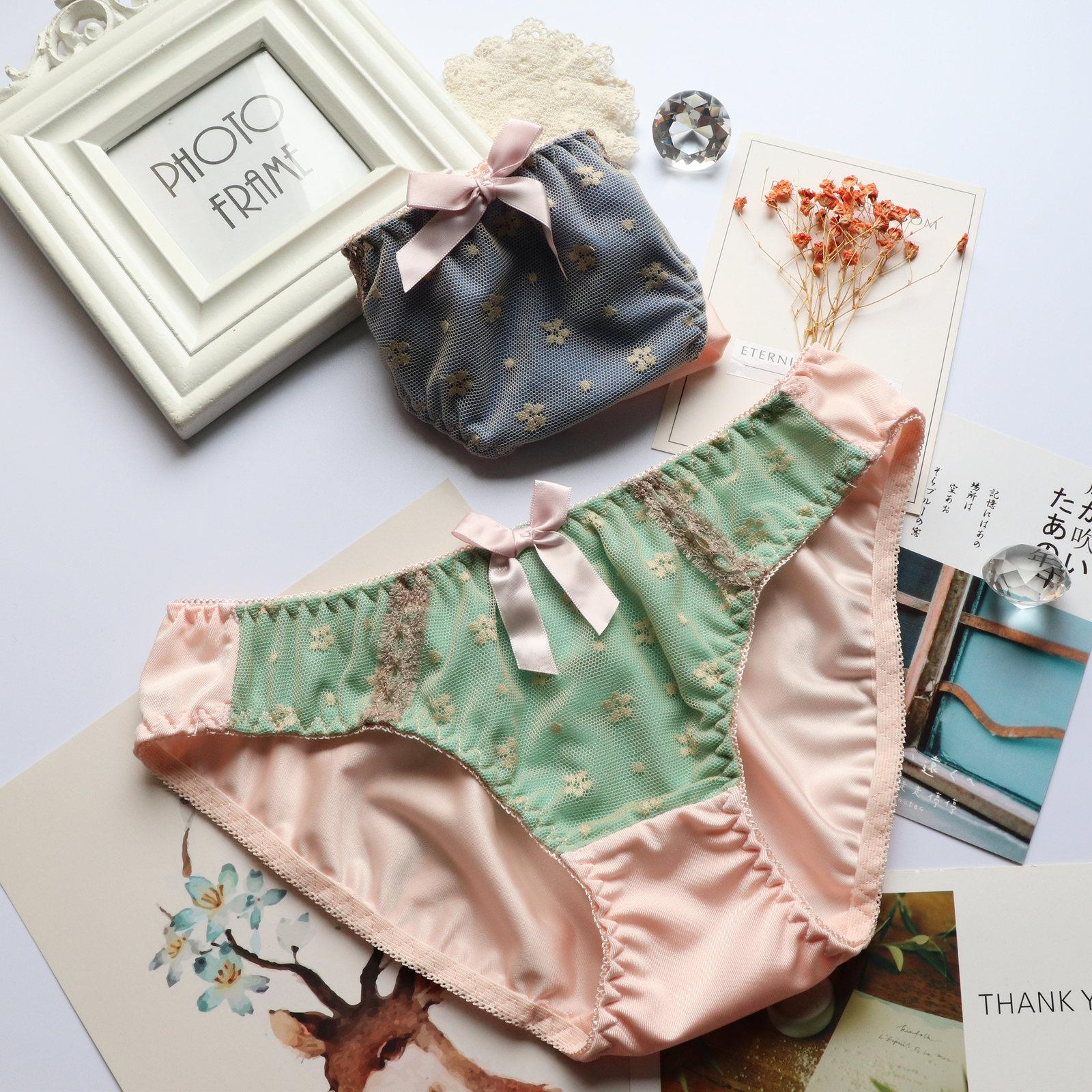 Nhật Bản bowknot ngọt ngào và dễ thương cô gái ren nylon hip đồ lót nữ sinh viên quần lót đáy quần cotton đáy quần sịp - Tam giác