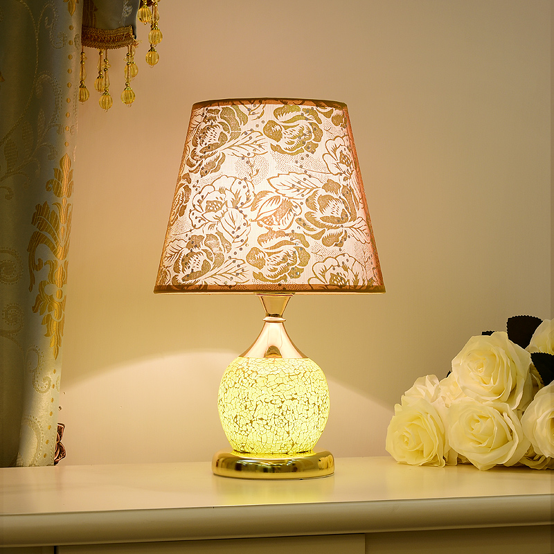 European bedroom 牀 head 檯 lamp home ins girl symromantic romantic warm handmade glass mosaic 檯 lamp