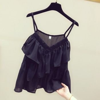 2020 spring and summer vest female Korean fashion solid color temperament flounced chiffon camisole casual clothes