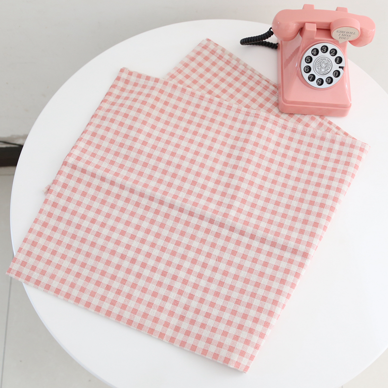 Korean Chic Girl Heart Pink Plaid Cute Sweet Shooting Background Cloth  Tablecloths Room Decoration Plaid Cloth