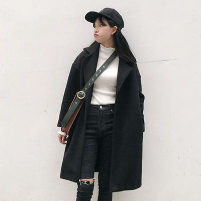 Autumn and winter women's new Korean version of the fashion long section of a buttoned woolen jacket loose coat students