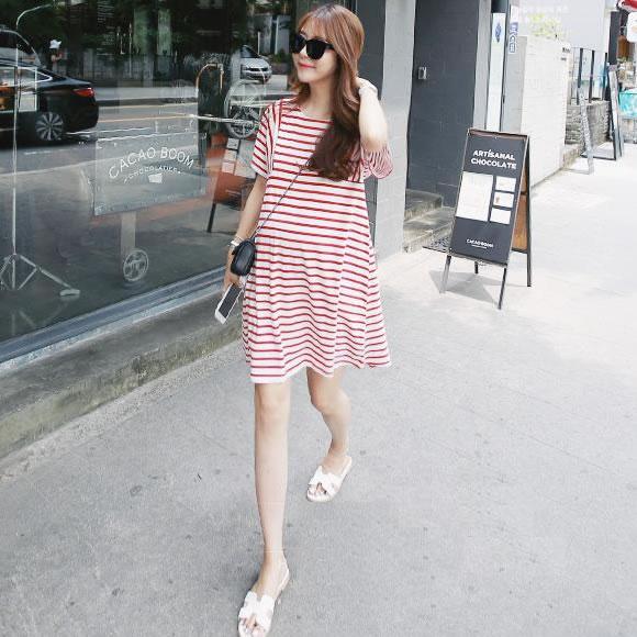 孕妇连衣裙2018春夏季中长款韩版短袖宽松大码韩国孕妇装春装上衣