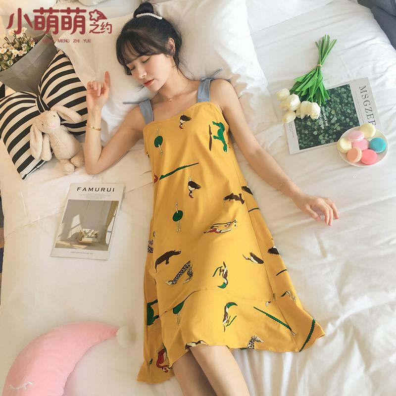 Bộ đồ ngủ ngọt ngào dành cho nữ mùa hè không tay - Đêm đầm