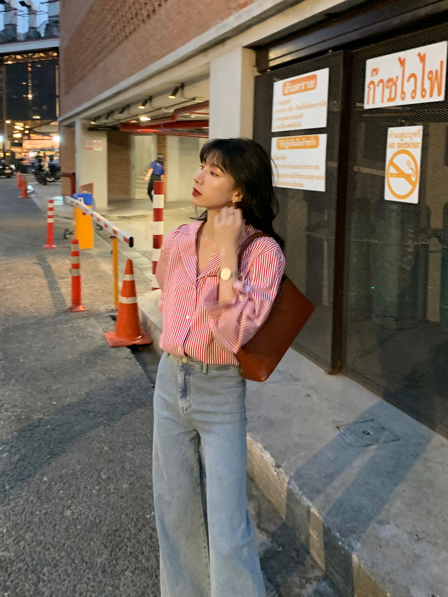 MSWU/20SS light retro French blogger style! Striped shirt version/skirt version casual fashionable female long skirt