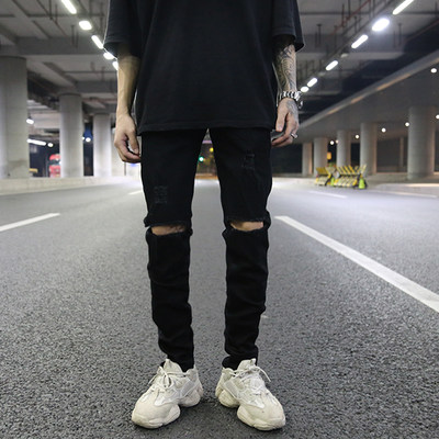 INS Europe and America High Street Wind Classic Wild Cover Caves Cave Black Elastic Slim Proud Jeans Kanye with