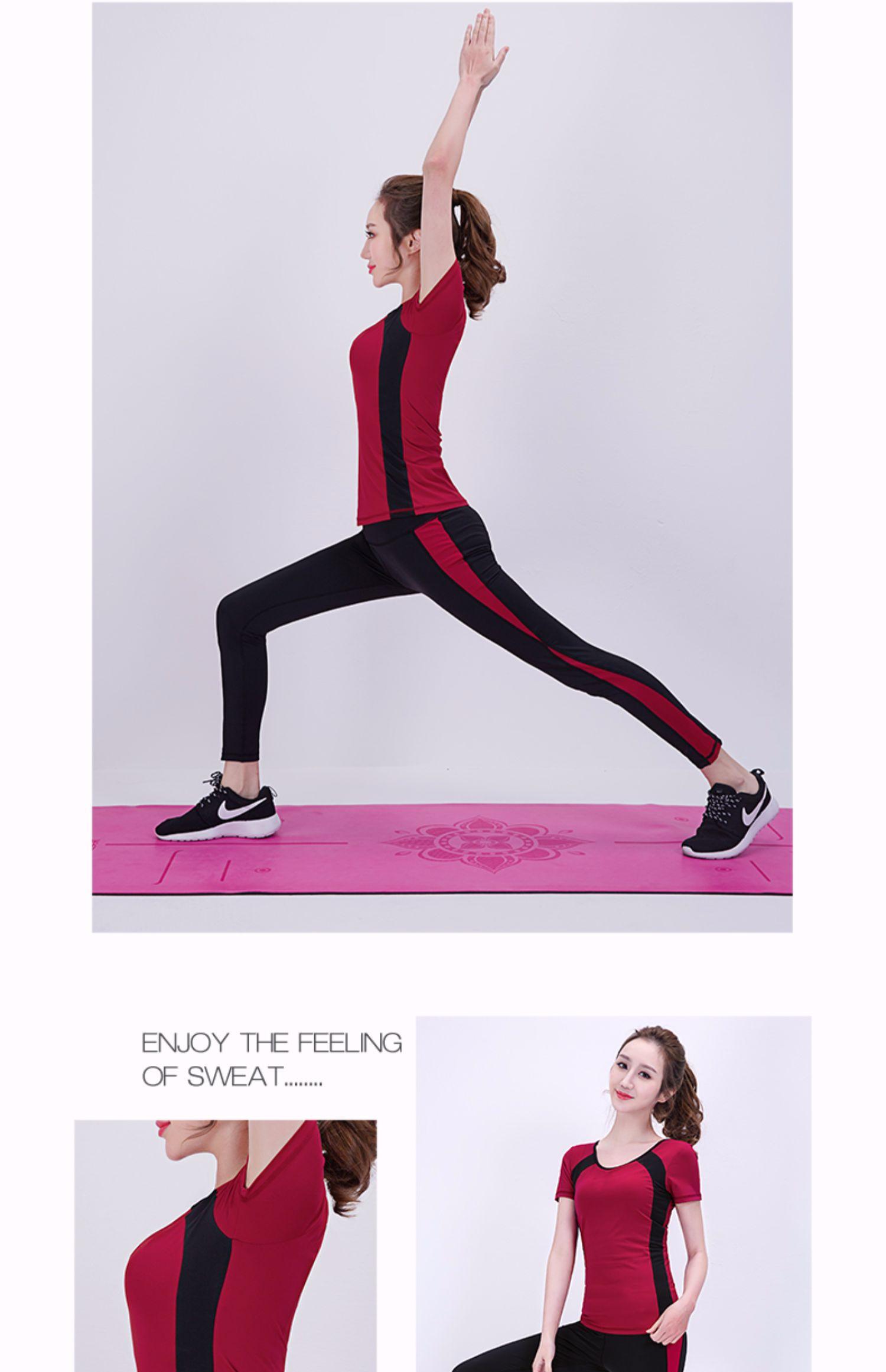 伽美斯春夏季短袖健身服女运动服套装紧身跑步健身专业瑜伽服套装商品详情图