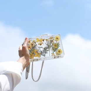 Real flower ~ small daisies 2018 summer new acrylic flower chain diagonal cross bag personalized transparent box bag
