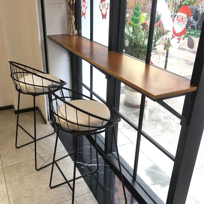 Нордический стена бар столы и стулья домой простой современный ходули стол магазин бар столы и стулья железо дерево бар стол