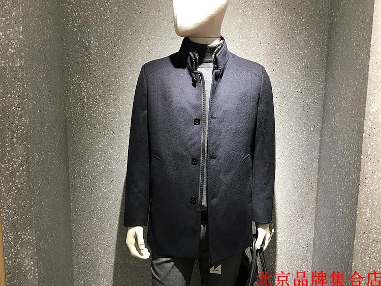 水貂毛领100%羊毛 拆卸羽绒内胆 经典蓝黑色 商务羽绒大衣12800元