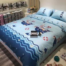 Boy spring and summer blue cartoon cotton three or four sets of Mediterranean quilt cover children's bed products cotton sheets 1.5m bed