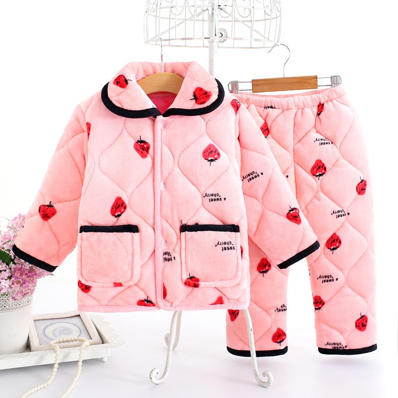 秋冬季儿童珊瑚绒睡衣女童加厚夹棉男童法兰绒宝宝小孩家居服套装