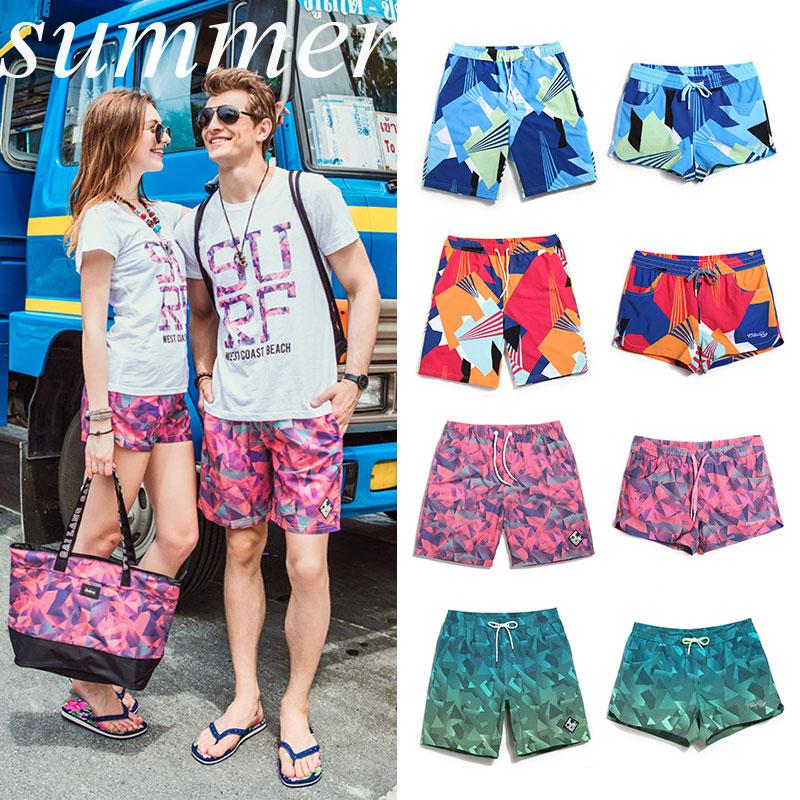 Мужской Пляжные брюки женские пляжные штаны пять очков большой размер Быстросохнущий морской отдых для влюбленной пары Плавательные сундуки, горячие источники, шорты