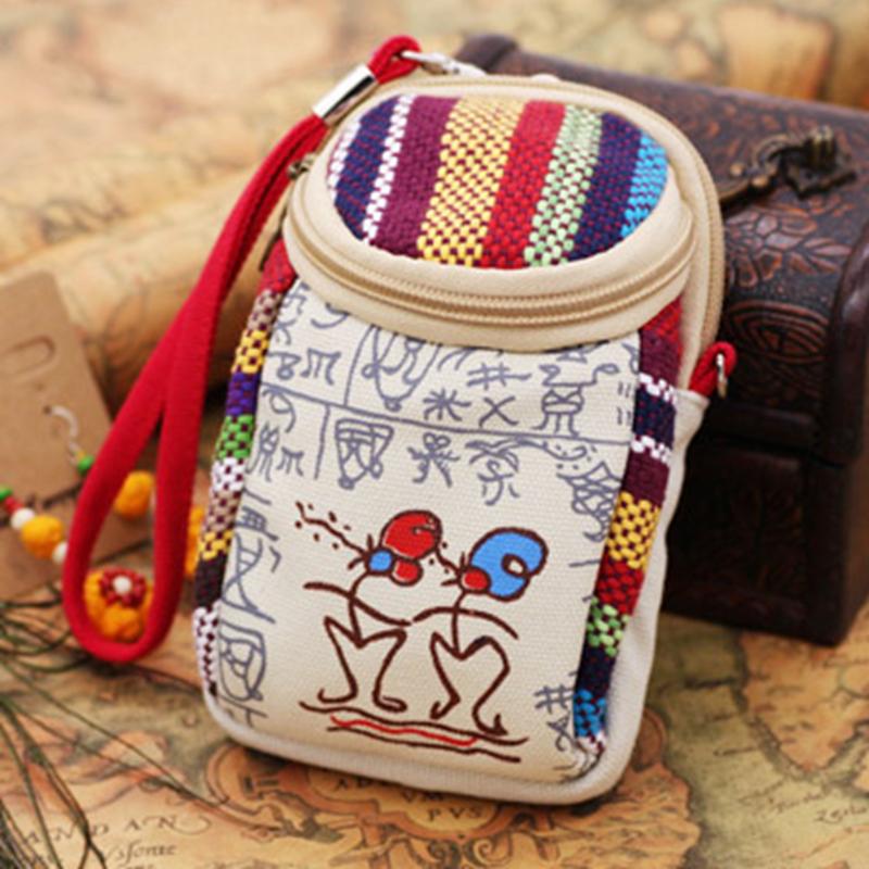 云南民族风手机帆布包零钱包钥匙包斜挎单肩手拿包女包迷你小包包