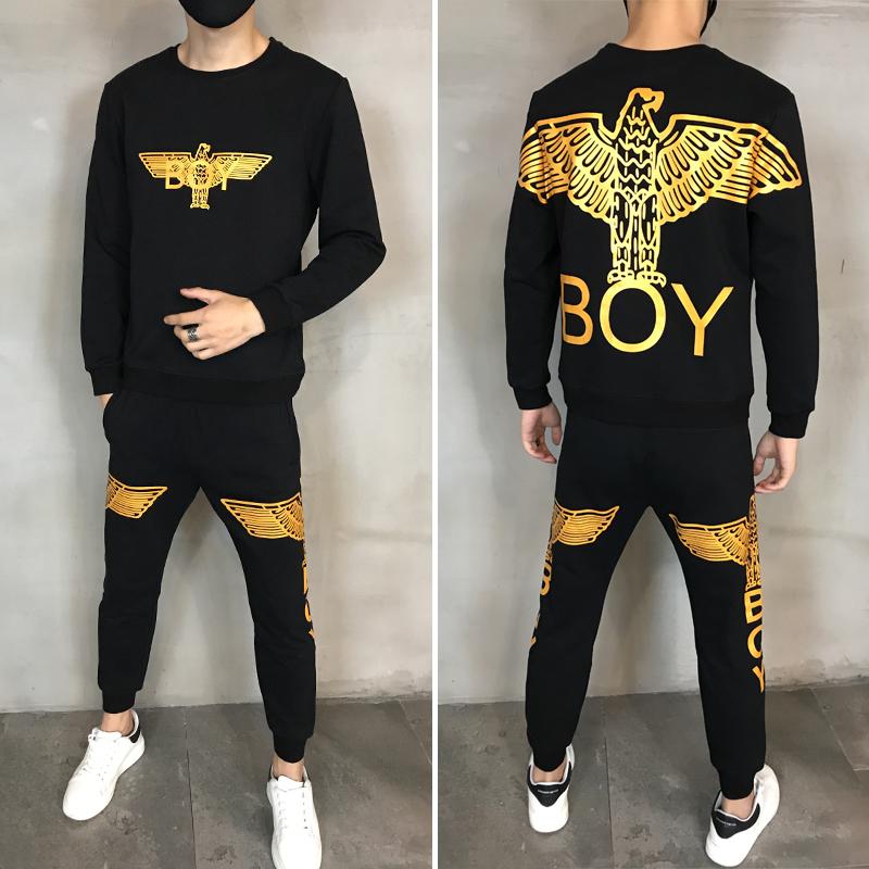 BOY潮牌套装男士秋冬季运动休闲男女同款卫衣加绒加厚情侣两件套