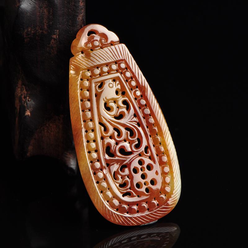 正品缅甸老坑天然冰种红黄翡翠项链A货男女款玉项链圆珠玉器带证