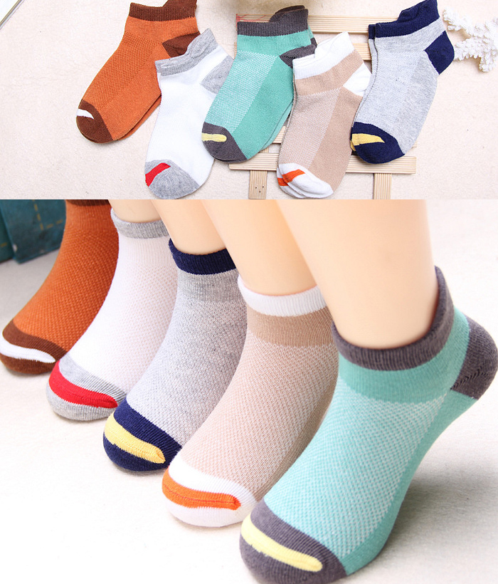 5 PAIRS OF SUMMER BIG STRIPED BOAT SOCKS