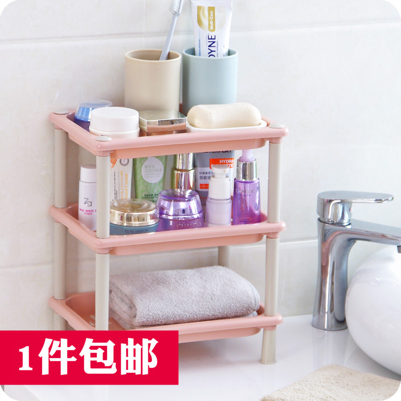 Multi-function rack kitchen bathroom storage rack mini plastic ...