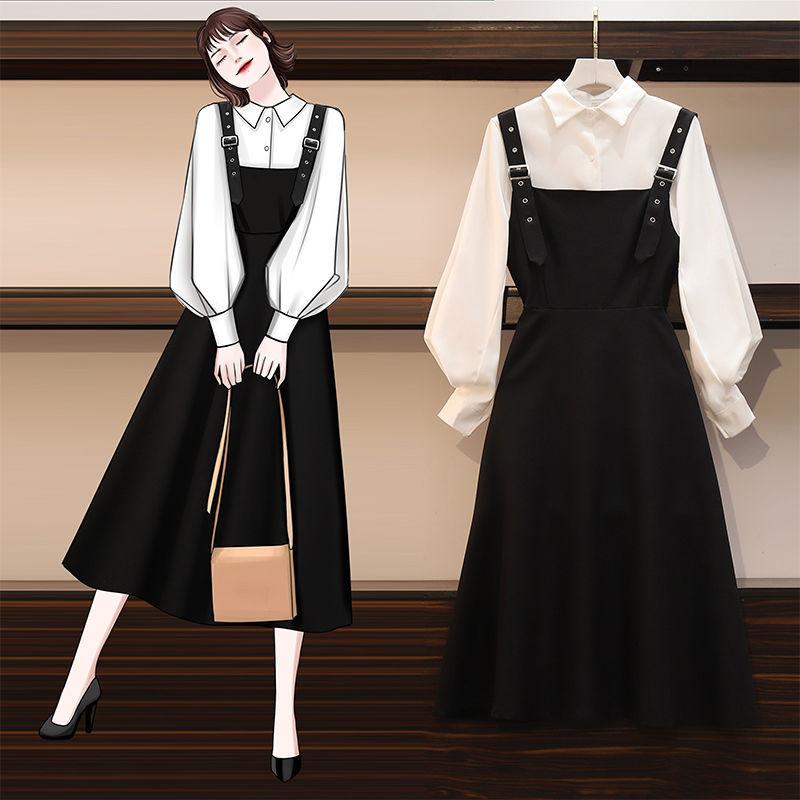 大码女装时尚衬衫遮肚显瘦连衣裙女两件套