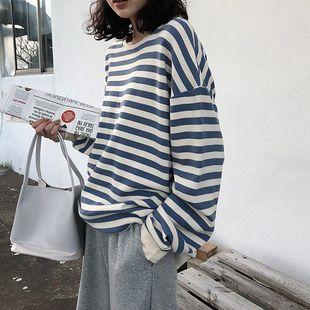 秋冬新款薄款圓領條紋衞衣慵懶風寬鬆女