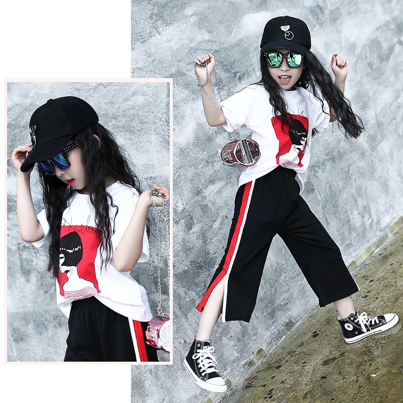 女童套装夏装2017新款韩版时尚两件套中大童七分阔腿裤儿童短袖潮