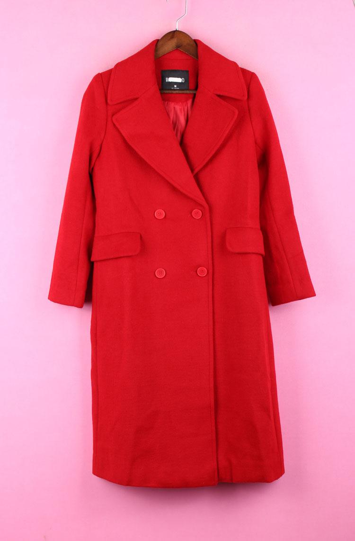 Vận chuyển 97HPFS991 quần áo phụ nữ chính hãng mùa thu đông phù hợp với áo khoác len đỏ dài 2019 - Áo khoác dài