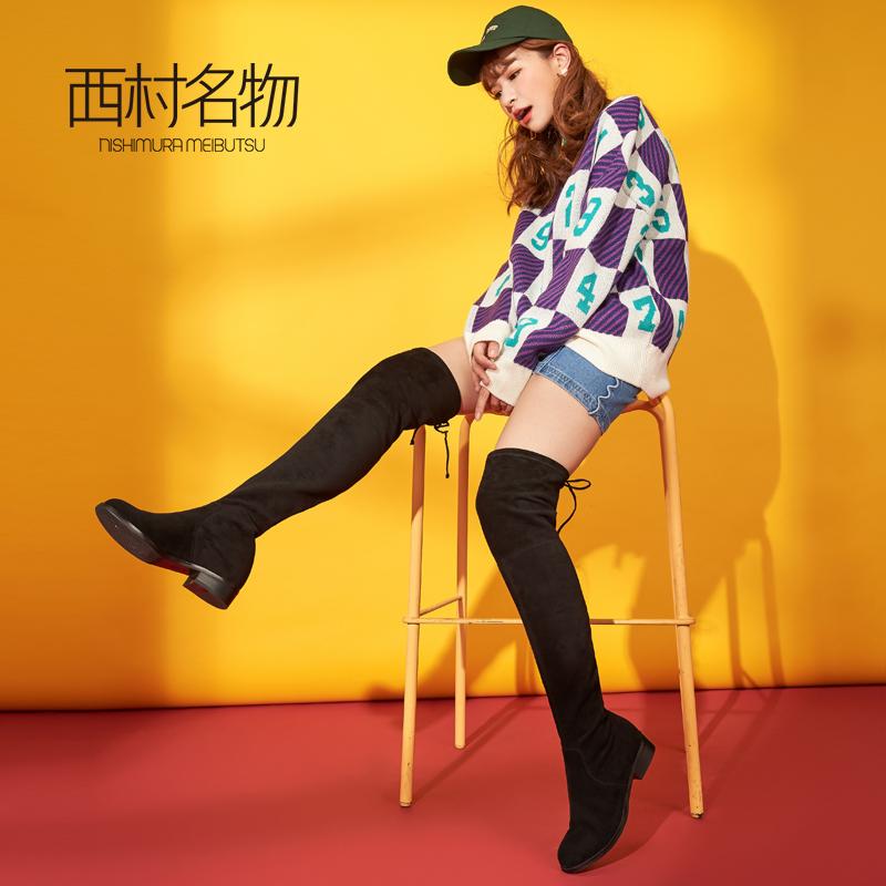 西村名物过膝长筒靴女2018秋冬新款平底弹力短靴瘦瘦袜靴薄44201