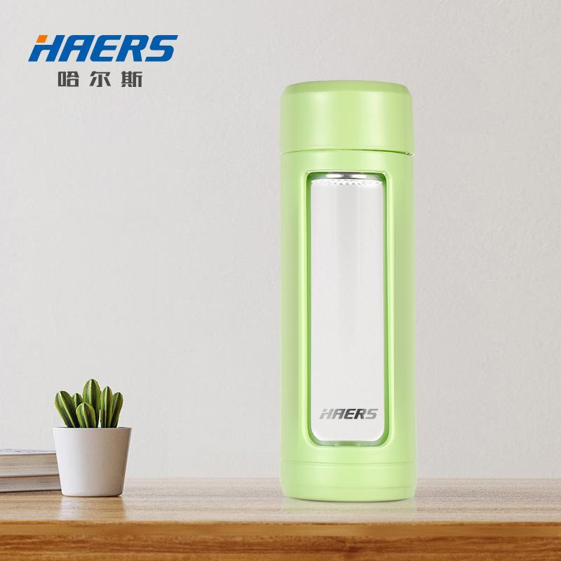 【哈尔斯旗舰店】便携双层玻璃保温水杯