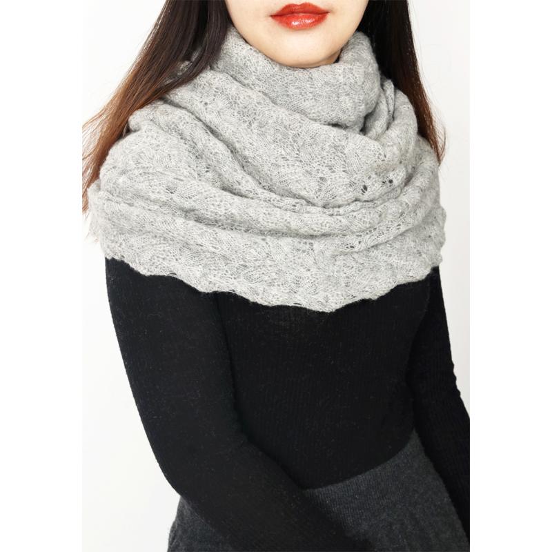 2019冬季上新优美双层纯围巾钩织高贵镂空阿尔巴斯羊绒脖套手工