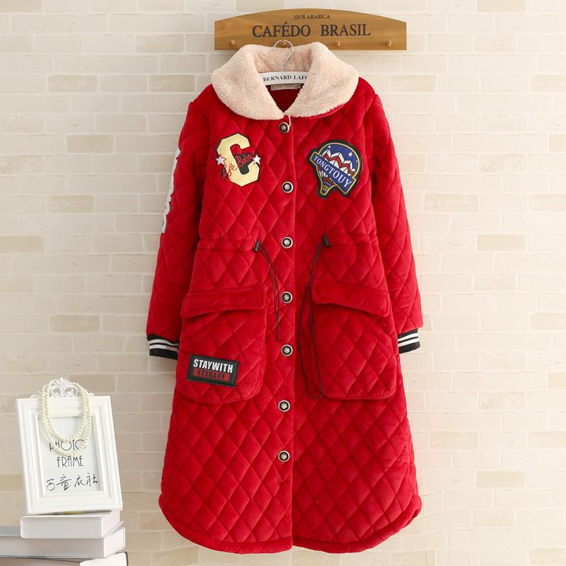 女冬夹棉睡裙扣袍子睡袍女生睡衣加厚保暖大红色长袖家居服套装