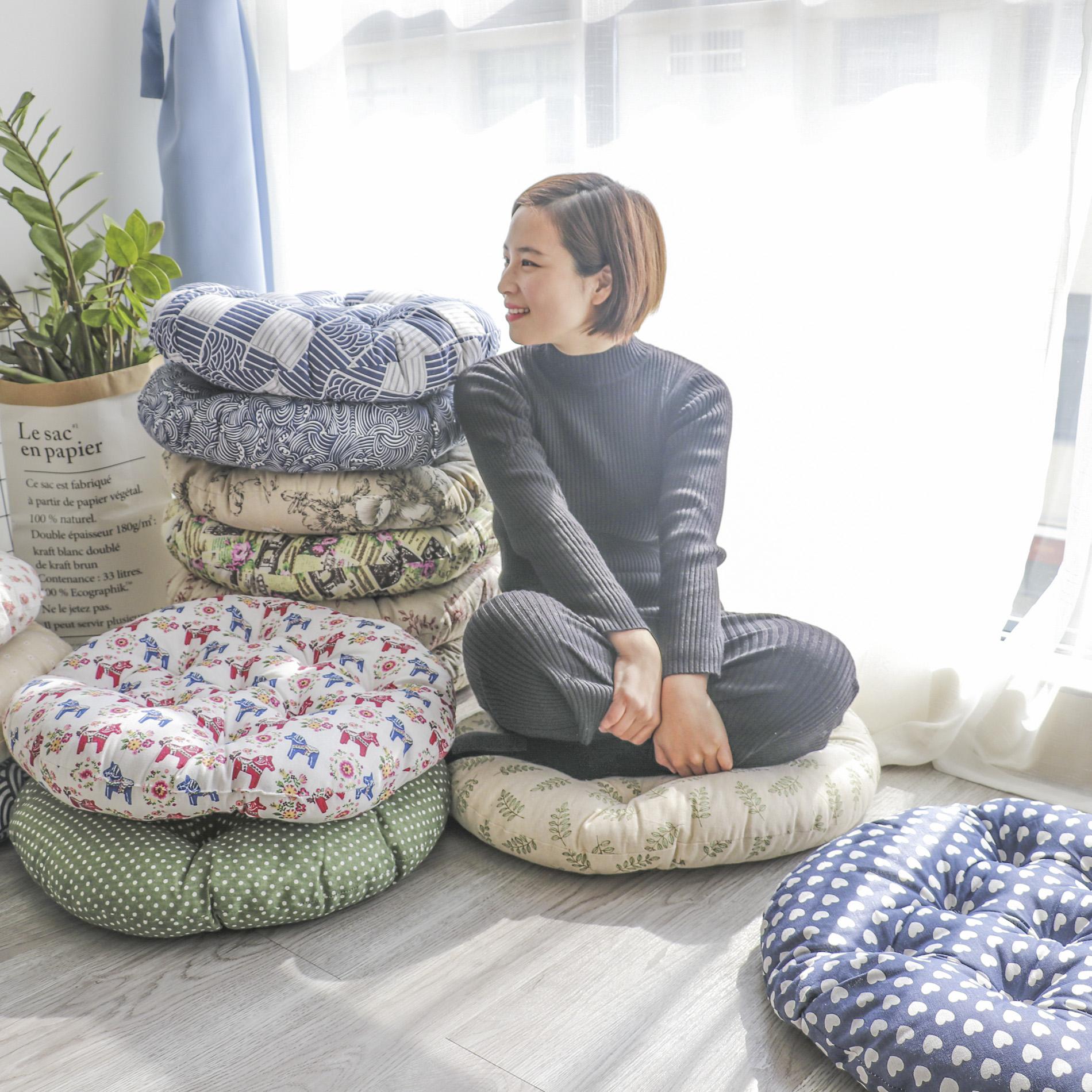 Японск-тип хлопок Льняное искусство футон мата татами круглый плавающий окно подушка утепленный панель Стул подушки студент мягкой кошки собака