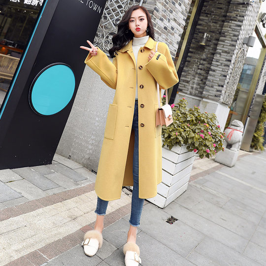 Anti-season clearance yellow woolen coat female long section Korean version 2019 new autumn and winter popular over the knee woolen coat